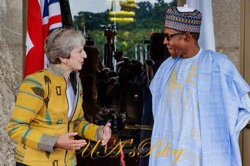 British PM, Theresa May Rocks Locally Made 'Akwete Cloth' From Abia State During Visit To Nigeria (Photos)