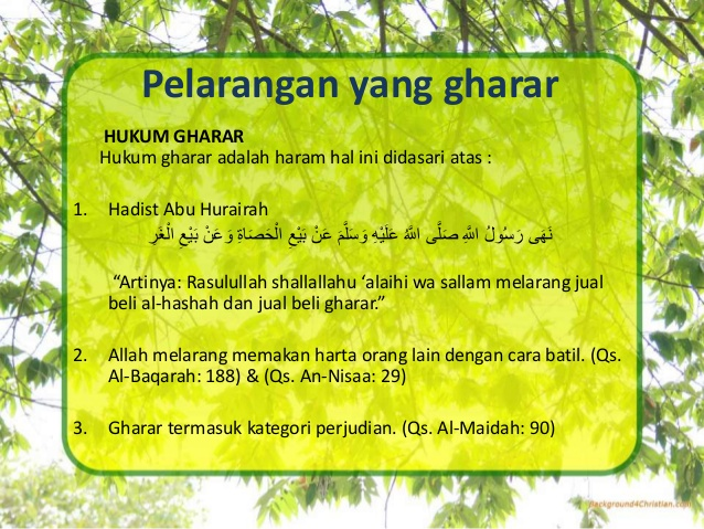 Bahaya Jual Beli Gharar Be Good Moslem