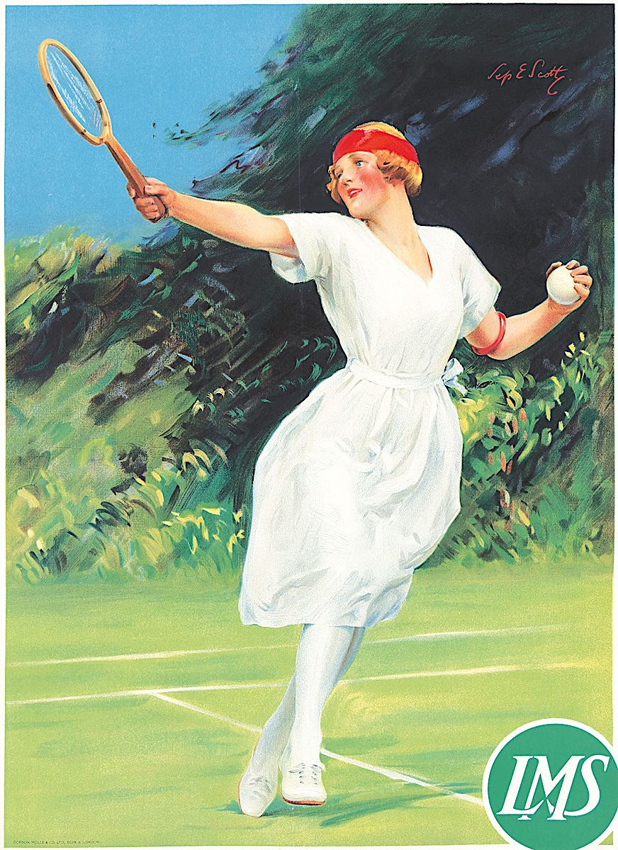 The Tennis Girl, a 1925 Septimus Edwin Scott illustration for the London Midland and Scottish Railway