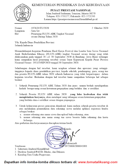 surat pemberitahuan daftar pemenang fls2n abk daring tahun 2020 tomatalikuang.com