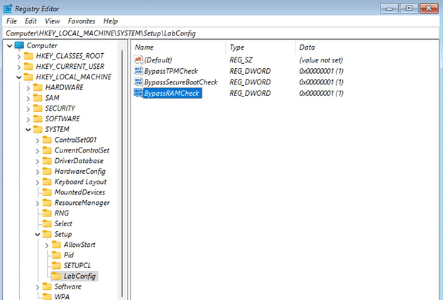 Registry Editor for Windows 11 TPM bypass
