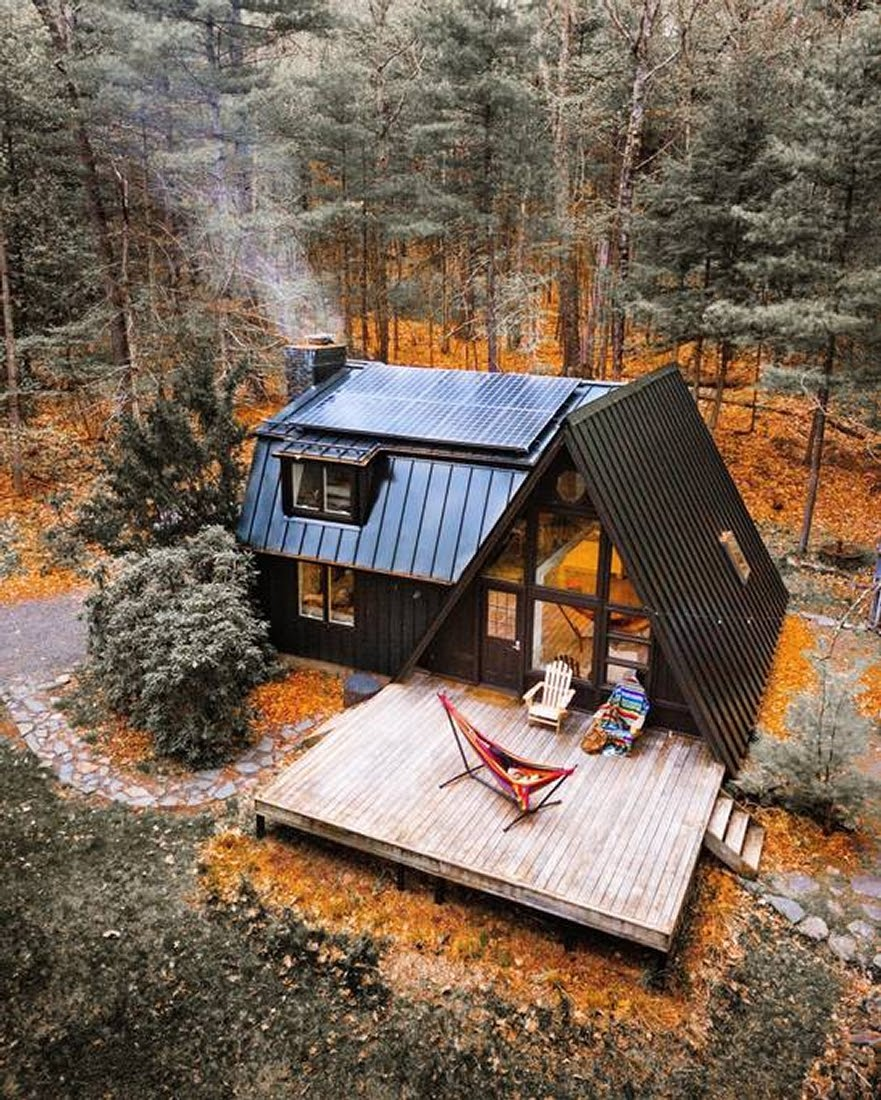 13-Aerial-View-Jeremy-Sustainable-Catskills-A-Frame-House-Airbnb-www-designstack-co