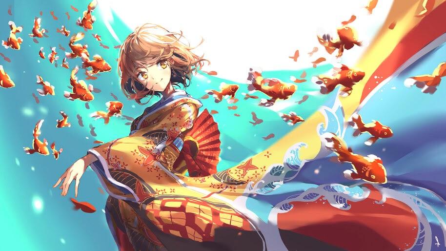 Anime, Girl, Flying, Goldfish, 4K, #6.2609