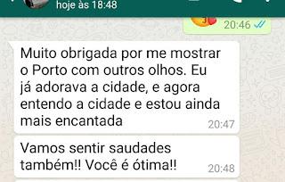 depoimentos de turistas brasileiros sobre guia brasileira no Porto