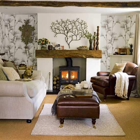 Warm Rustic Living Room Ideas: Home Interior Design: Collection Of Country Living Room Styles