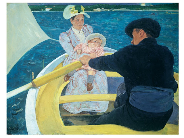 The Boating Party by Mary Cassatt; painting of a family in a rowboat