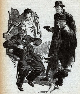 One of the uncredited illustrations accompanying the original publication of this story in Astounding magazine. Image shows a scene near end where the man in dogs body, with 2 friends, is confronting 2 villains.