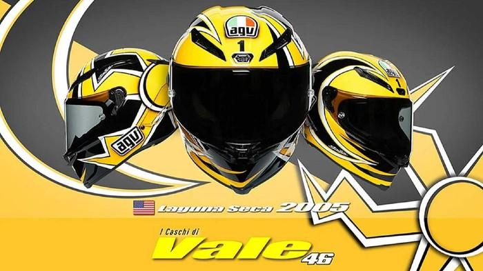 Helm replika Valentino Rossi dirilis oleh AGV dengan harga Rp. 27 juta