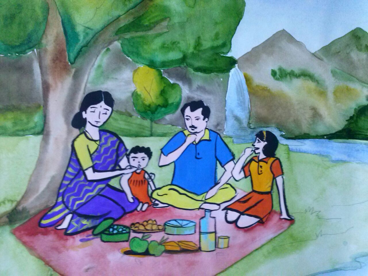 Manasiz Paintings: A Family Picnic - intermediate drawing ...