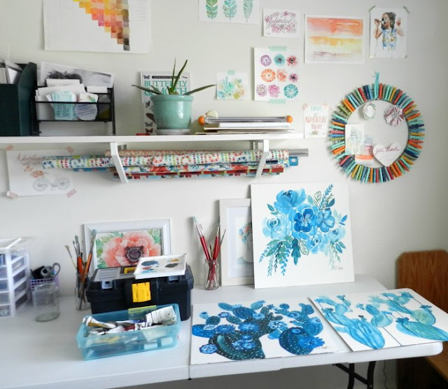 Art Studio with Blue Cactus Paintings: Elise Engh