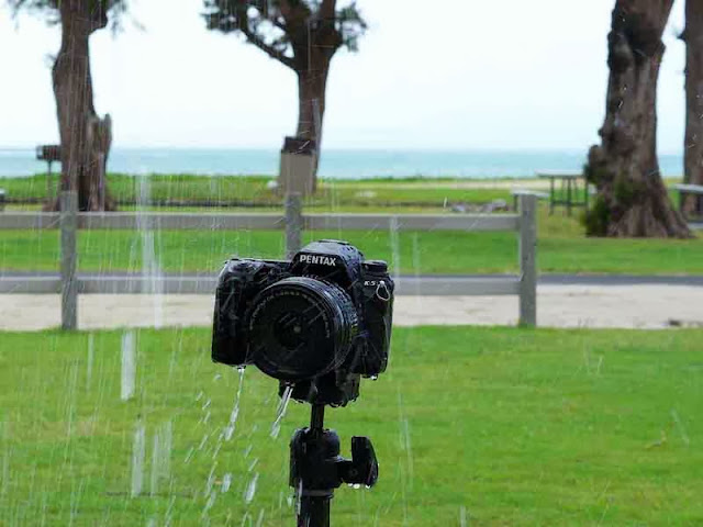Pentax K5 camera taking a shower