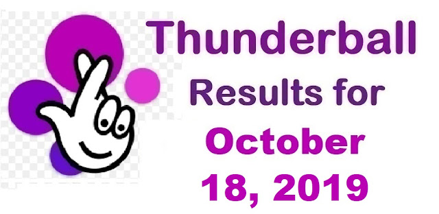 Thunderball results for Friday, October 18, 2019