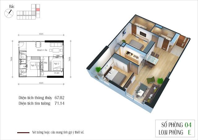 Căn hộ 67 m2 tòa Eco Summer
