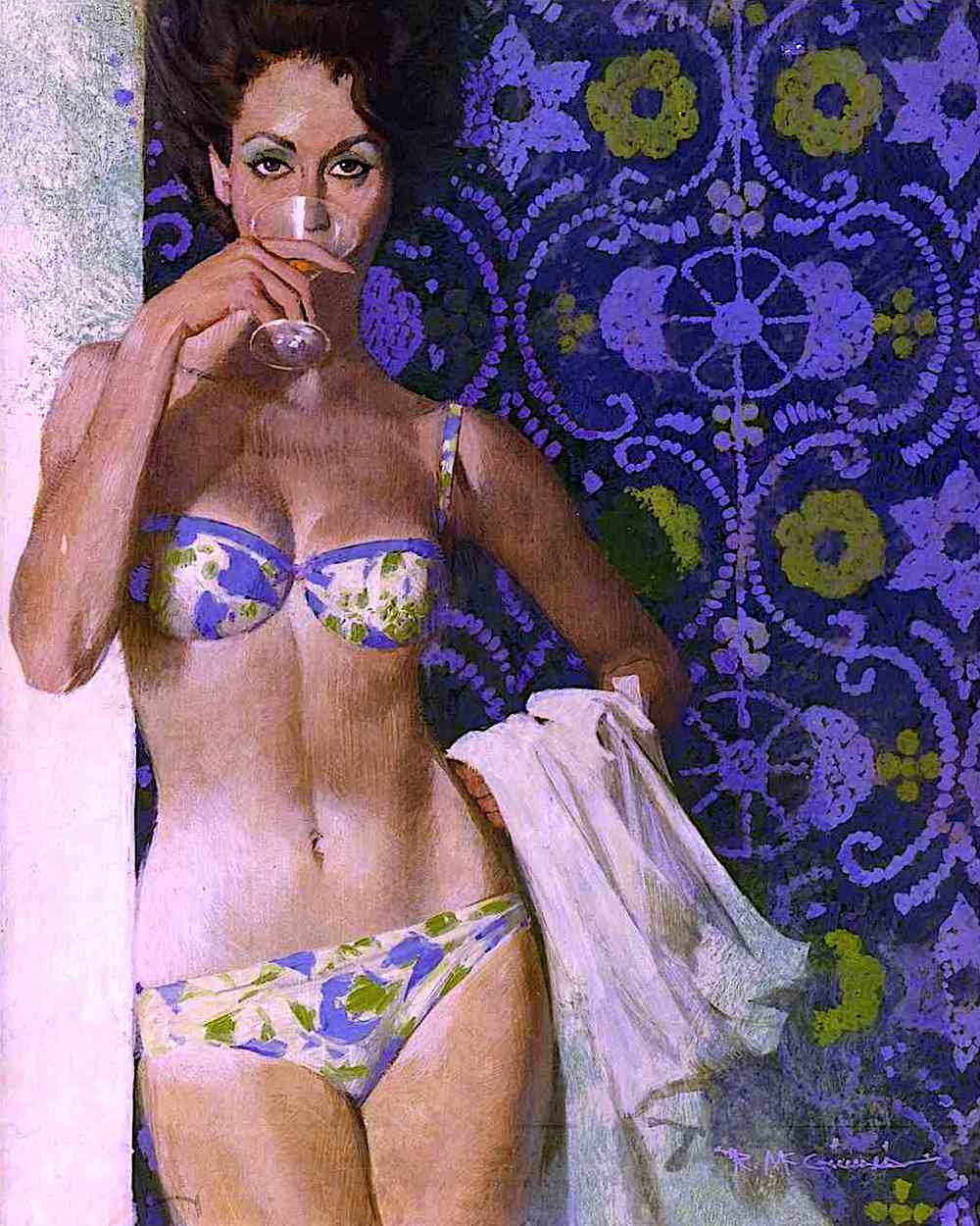 a Robert McGinnis illustration of a confident sexy woman in a bikini sipping a martini