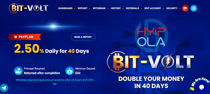 [SCAM] Review BitVolt - Dự án chiến nhanh với lãi 2.5% hằng ngày, cho rút vốn sớm