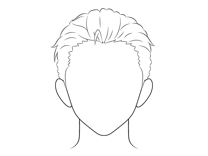 Anime menyisir kembali gambar garis rambut pria