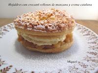 Hojaldres con crocanti rellenos de compota de manzana y crema catalana