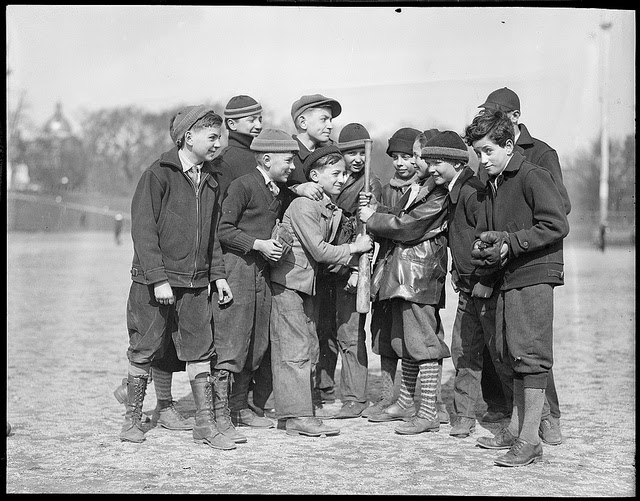 Boys choosing sides for a baseball game. c1910 Go Home, marchmatron.com