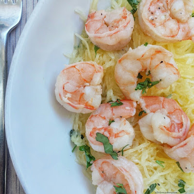 Skinny Spaghetti Squash Shrimp Scampi from Fit Slow Cooker Queen - featured for Low-Carb Recipe Love on Fridays found on KalynsKitchen.com