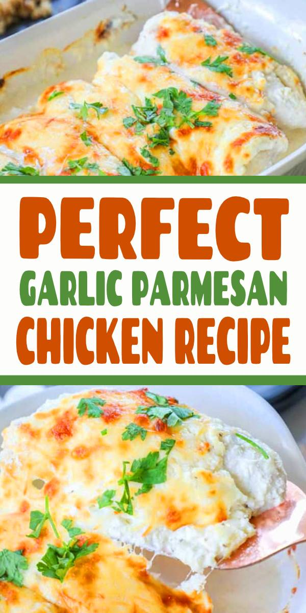 This Garlic Parmesan Chicken has some of the best flavors of any chicken dish I have made!  It is the perfect combo of smooth & creamy cheese, rich and bold garlic and tender chicken. #EasyFamilyRecipes #Chickenbake #chicken #bakedchicken