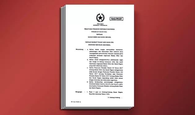 PERPRES Nomor 28 Tahun 2021 tentang BSSN (Badan Siber dan Sandi Negara)