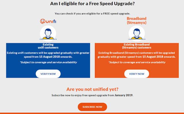 Semakan Kelayakan Free Speed Upgrade Unifi & Streamyx Online