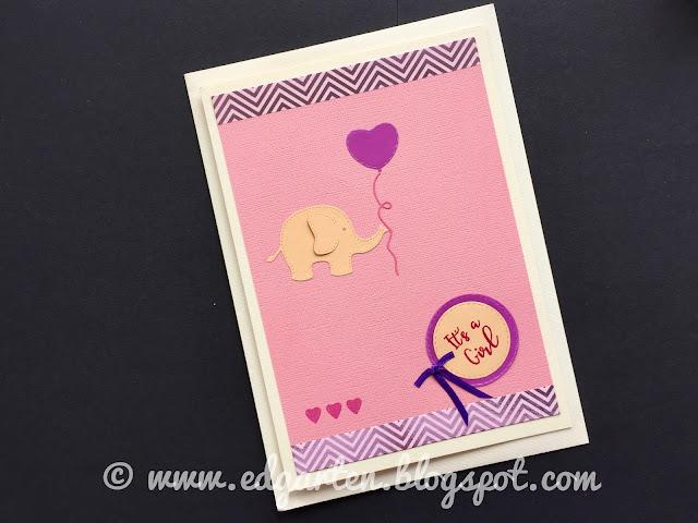 Karte mit Elefant und Ballon
