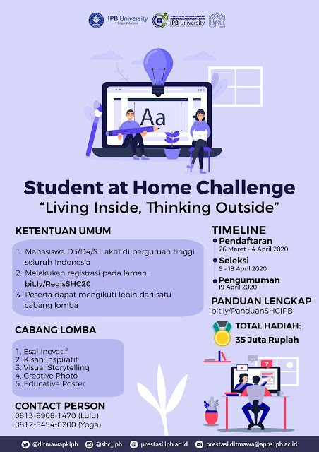 """Info Lomba Student at Home Challenge """"Living Inside, Thinking Outside"""""""