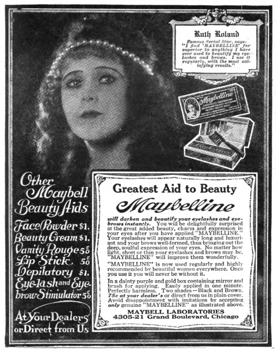 Maybelline ad 1920 - Ruth Roland
