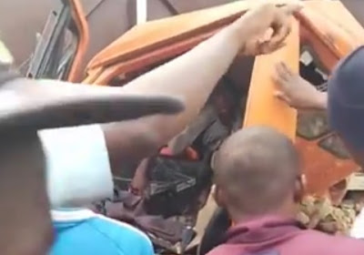 Boy Trapped, As Truck Rams Into Parked Trailer In Aba (Video)