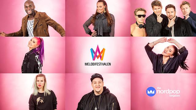 Participantes de la primera semifinal del Melodifestivalen 2017