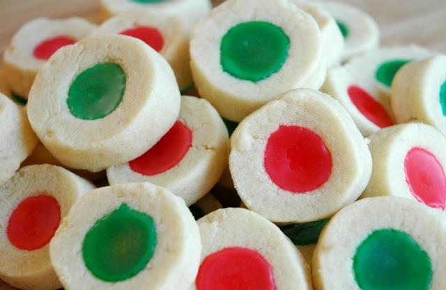 Christmas shortbread thumbprint cookies