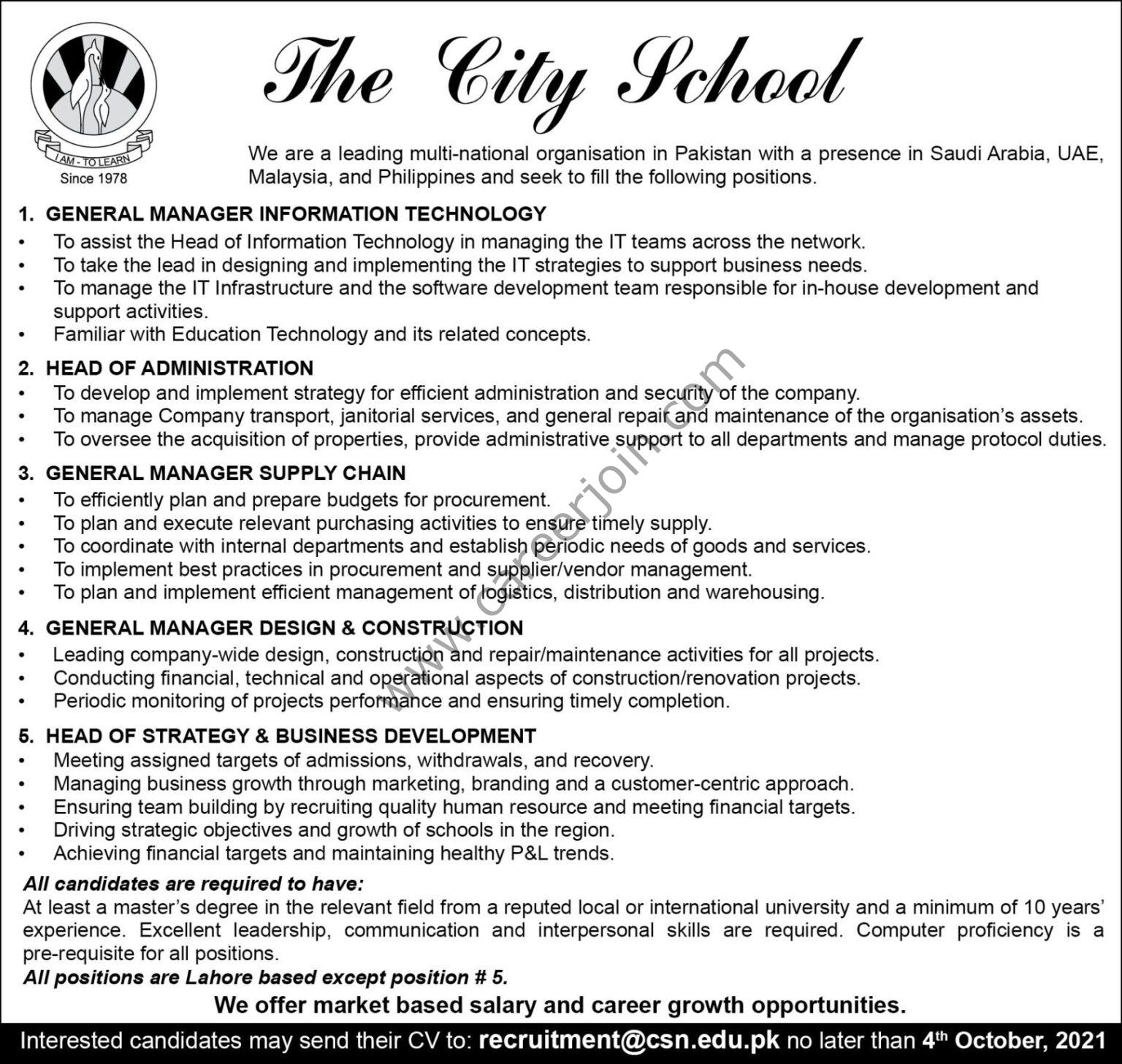 The City School Jobs OCT 2021