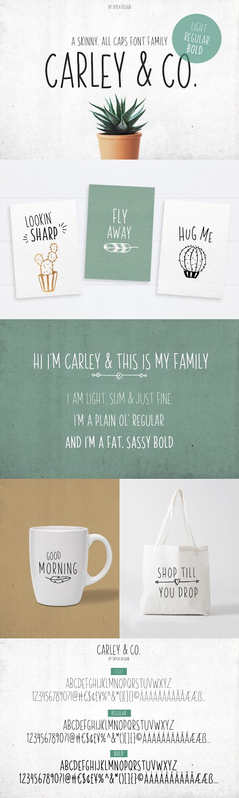 Carley & Co. font family Skyla Design