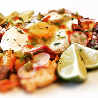 Chicken and chorizo tostadas