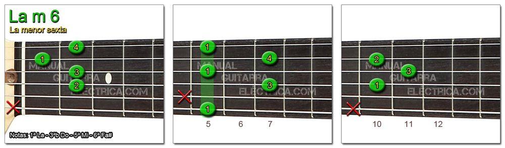 Acordes Guitarra La menor Sexta - A m 6