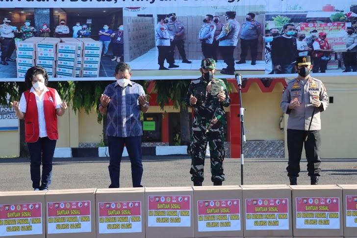 Kapolda Sulsel Terima Bantuan 25 Ribu Paket Sembako Senilai 2,5 Milyar Untuk Didistribusikan Ke Masyarakat Sulsel
