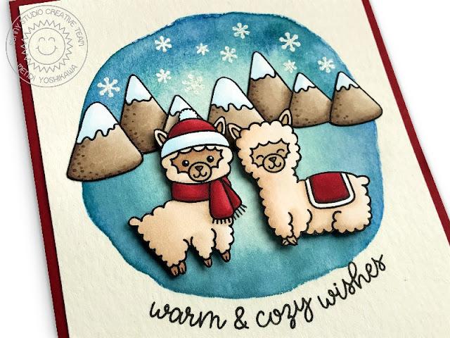 Sunny Studio Stamps: Alpaca Holiday Warm & Cozy Wishes Winter Card by Mendi Yoshikawa