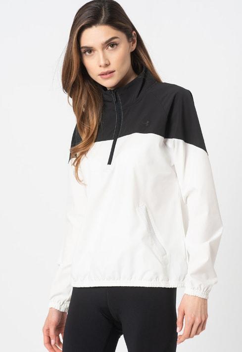 Jacheta lejera fara inchidere, cu fenta cu fermoar, pentru fitness
