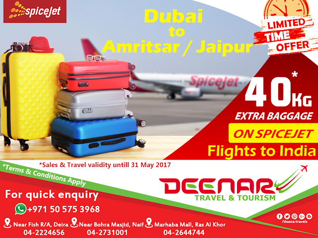 spice jet extra baggage deenar travels