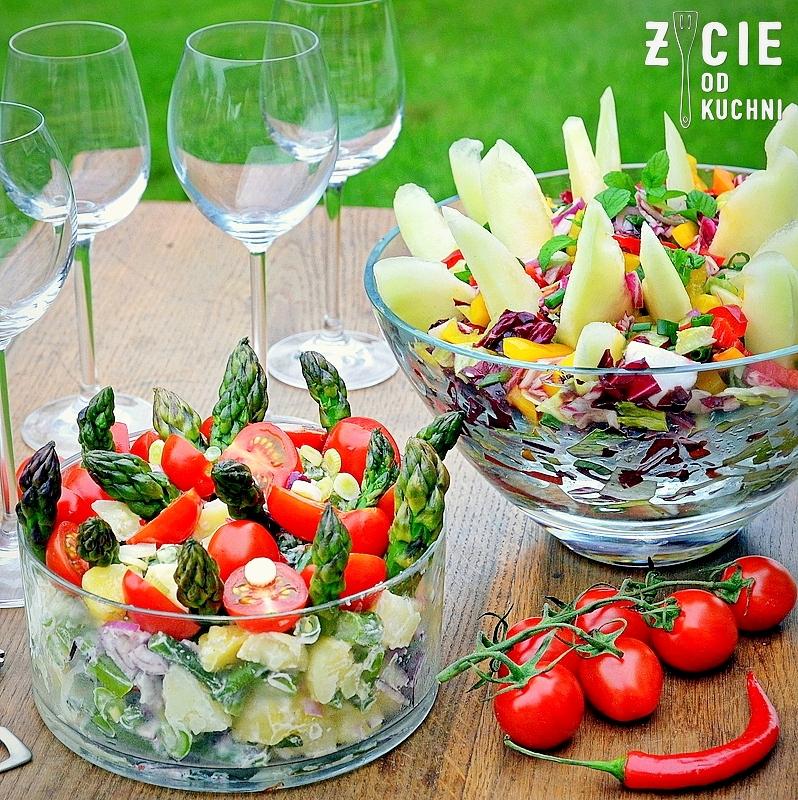 salatka, salatki, salatki do grilla, salatka ze szparagami, zielone szparagi, melon, melon miodowy, co do grilla, dodatki do miesa, dodatki do grilla, przepisy na grilla, przyjecie w ogrodzie, zycie od kuchni
