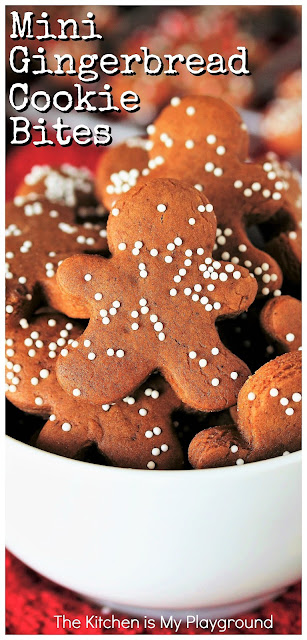 Mini Gingerbread Cookie Bites ~ One perfectly adorable, perfectly-poppable Christmas cookie treat! Great for gifting, decorating cupcakes or desserts, garnishing Christmas cocktails, or for just popping in your mouth as a smaller Christmas cookie treat. #gingerbread #gingerbreadcookies #Christmascookies www.thekitchenismyplayground.com