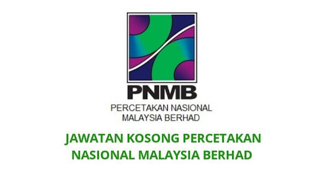 Jawatan Kosong Percetakan Nasional Malaysia Berhad 2021 PNMB