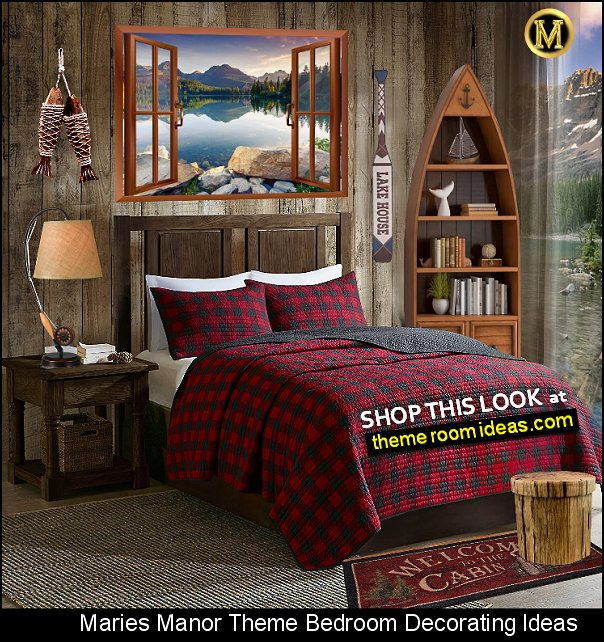 Buffalo Check log cabin bedroom ideas fishing decor canoe bookshelf plaid bedding lake house decor  Lumberjack Plaid bedding