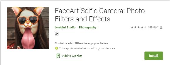 faceart selfie camera