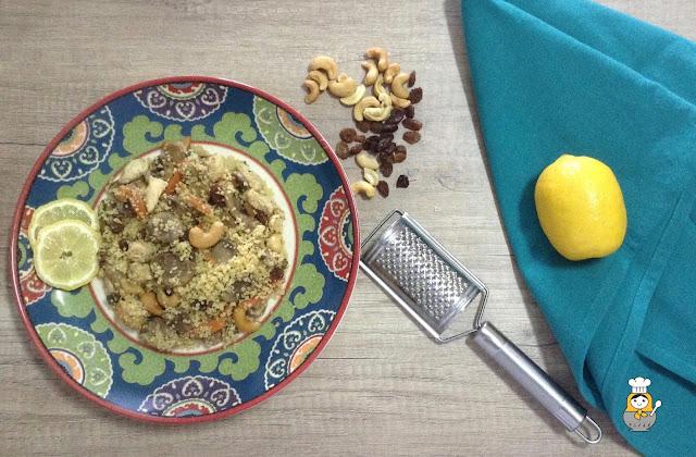 Cuscus con pollo y champiñones