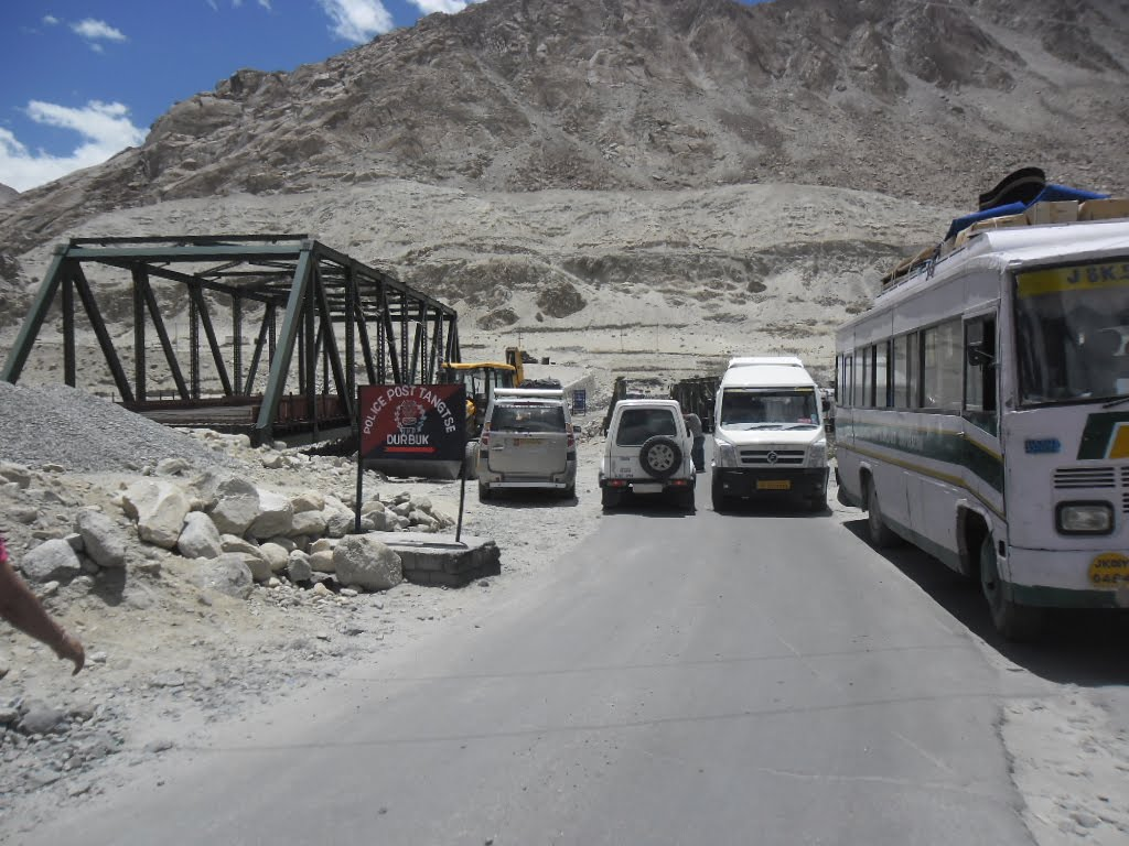 "At Tangste Police Checkpost on way to ""Pangong Lake""."