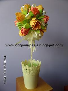 kwiaty, drzewko, lotos, papier, doniczka plastikowa,