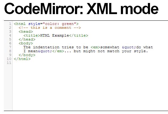 CodeMirror XML editor