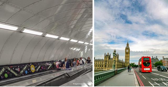 Transporte em Londres: estação de metrô e ônibus de dois andares